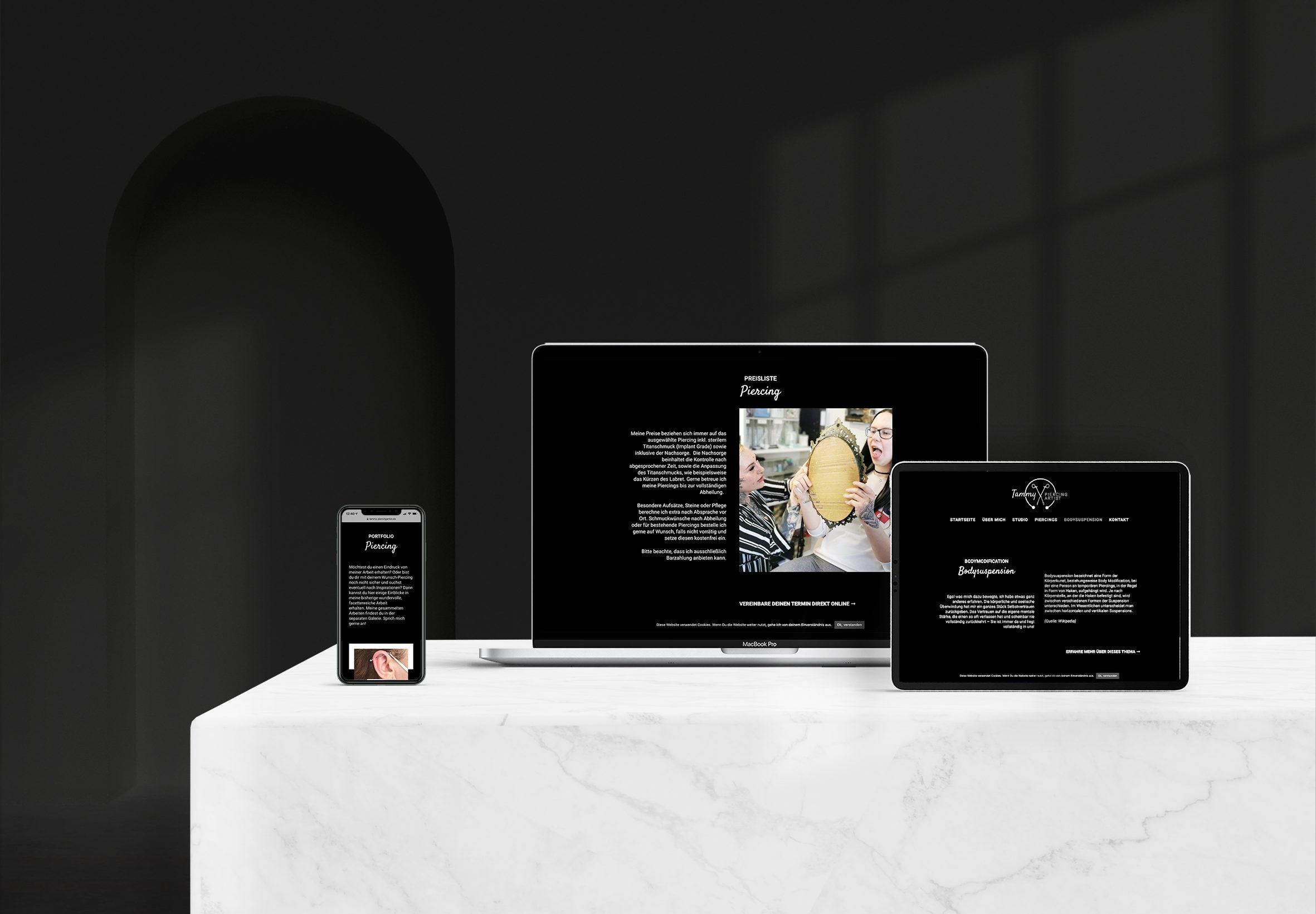 Webdesign Tammy Piercing Artist Website